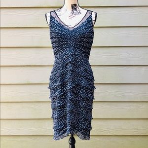 Adrianna Papell Tiered Polkadot Sleeveless Dress 8